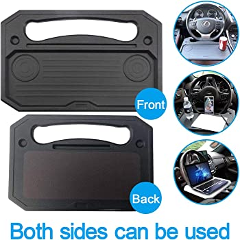 XBY-US Auto Steering Wheel Desk, Laptop, Tablet, iPad Or Notebook Car Travel Table, Food Eating Hook On Steering Wheel Tray,for Drivers (A-Black)
