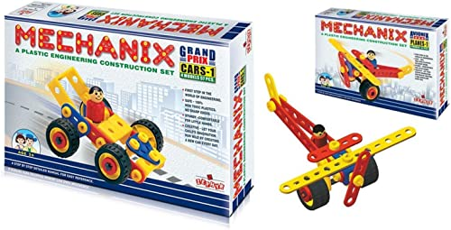 Plastic Mechanix Cars – 1, 4 Models Educational, STEM Learning, Building and Construction Toy, Age 3 & Planes 1, Buil...