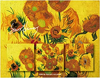 Doraking 60Sheets Vintage Van Gogh Sunflower Self-Sticky Notes for Essay Daily TODO List Plans, N-Times Sticky Notes Art S...