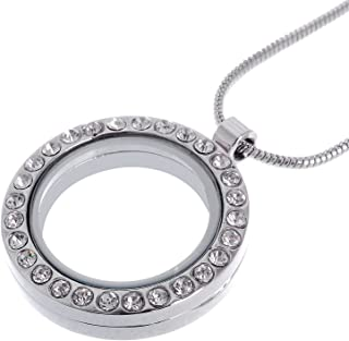 RUBYCA Living Memory Round Locket Snake Chain Necklace Crystal Floating Charm DIY Silver Tone 1Pcs