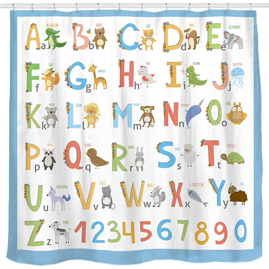 Sunlit Alphabet Fabric Shower Curtain for Kids ABC Educational Learning Tool for Boys and Babies Large A to Z Poster Tapestry Waterproof Polyester Bathroom Curtains- Blue