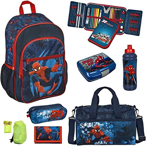 Familando Spiderman Schulranzen-Set 8tlg. Scooli Rucksack mit Federmappe gefüllt Sporttasche und Regenschutz SPJU7614