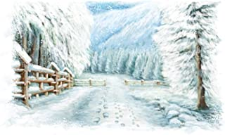 Laeacco Christmas Backdrop Vinyl 10x8ft Dreamlike Forest Mountain Snowy Road Wooden Fence Frosty Trees Footprints Painting Background Xmas Party Banner Child Kids Baby Portrait Shoot