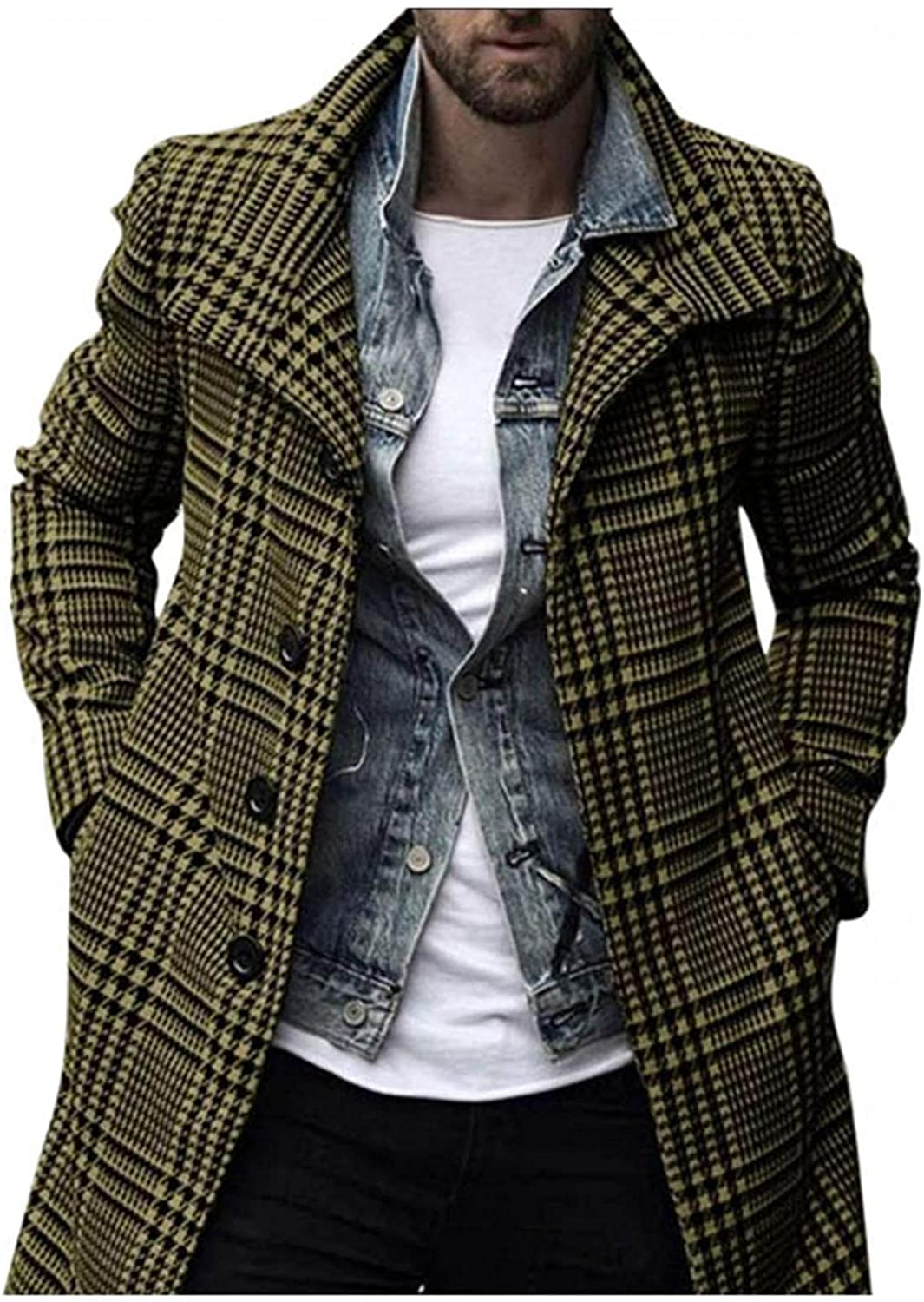 Huangse Men's Casual Notch Lapel Single Breasted Plaid Mid Long Trench Pea Coat Autumn Jacket Coat for Men