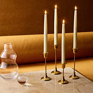 Flickering Flameless Taper Candles with Remote - 12 Inch LED Candlesticks, Realistic 3D Flame with Wick, Ivory Real Wax, C...
