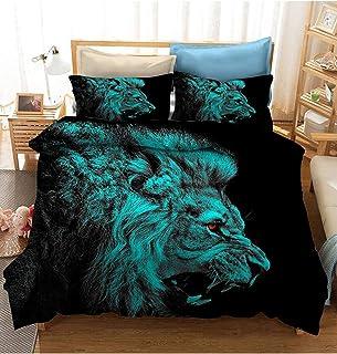NIU León lecho Retrato Masculino del león Juego de Cama Wild Animal Funda nórdica 3 Piezas for Hombre Colcha Sets con 2 Almohada Shams Regalos for Halloween Navidad