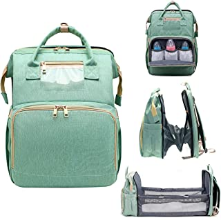 5 in 1 Diaper Bag Backpack with Fodable Crib, Travel Crib Infant Sleeper, Nappy Bag Multifunction Travel Bassinet for Baby...