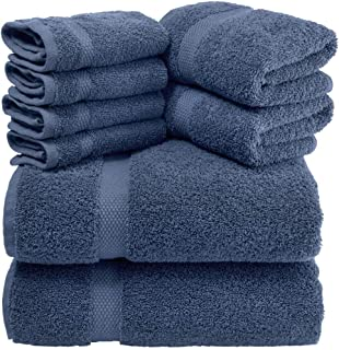 White Classic Luxury Bath Towel Set Navy-Blue - Combed Cotton Hotel Quality Absorbent 8 Piece Towels | 2 Bath Towels | 2 Hand Towels | 4 Washcloths [Worth $72.95] Navy Blue | 8 Pack