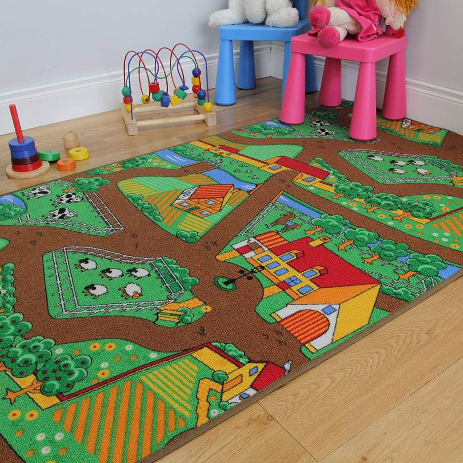 The Rug House Fun Kid's Country Farm Life Mat Animal and Tractor Rug 100cm x 165cm (3ft 3  x 5ft 5 ), Polyproplene, Green