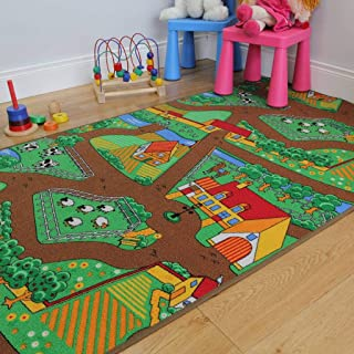 """The Rug House Fun Kid's Country Farm Life Mat Animal and Tractor Rug 100cm x 165cm (3ft 3"""" x 5ft 5""""), Polyproplene, Green"""