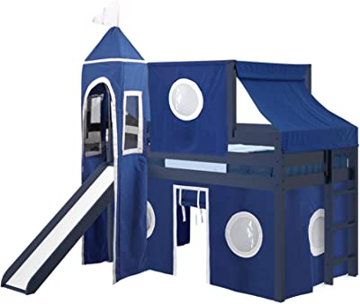 JACKPOT! Castle Low Loft Bed with Slide Blue & White Tent and Tower, Loft Bed, Twin, Blue