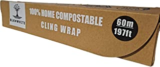 """BlknWhite Certified Compostable Cling Wrap with Slide Cutter - 12"""" Wide by 197 feet. ASTM 6400 Certified Biodegradable Cli..."""