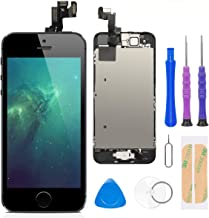 Compatible with iPhone 5S/SE Screen Replacement Black 4.0 Inch Full Assembly LCD Display Digitizer with Front Camera, Ear Speaker, Proximity Sensor and Repair Tool Kit