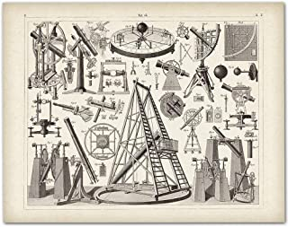 Antique Astronomical Instruments and Telescopes - 11x14 Unframed Art Print - Makes a Great Vintage Gift Under $15 for Astronomers