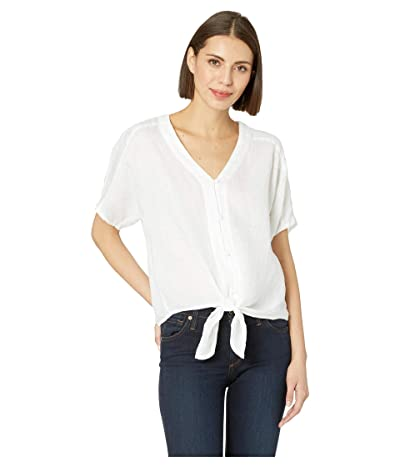 TWO by Vince Camuto Extend Shoulder Button Down Tie Front Linen Tee (Ultra White) Women