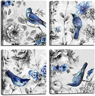 Canvas Wall Art Beautiful Watercolor blue Bird and flower Painting 4 pcs Wall Art Print on Contemporary Home Bedroom Wall Decoration Wrapped with Wooden Frame Ready to Hang, (16x16inchx4pcs, blue1)