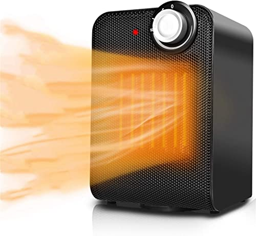 Portable Space Heater Fan - Small Ceramic Electric Oscillating Personal Space Heater for Office w/Adjustable Thermost...