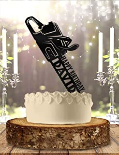 Personalized Lumberjack Woodworker Chainsaw with Name Birthday Cake Topper