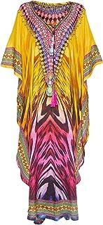 LikeJump Women's Bohemian Swimsuit Kaftan Kimono Bikini Cover Ups Summer Beach Dress Tops