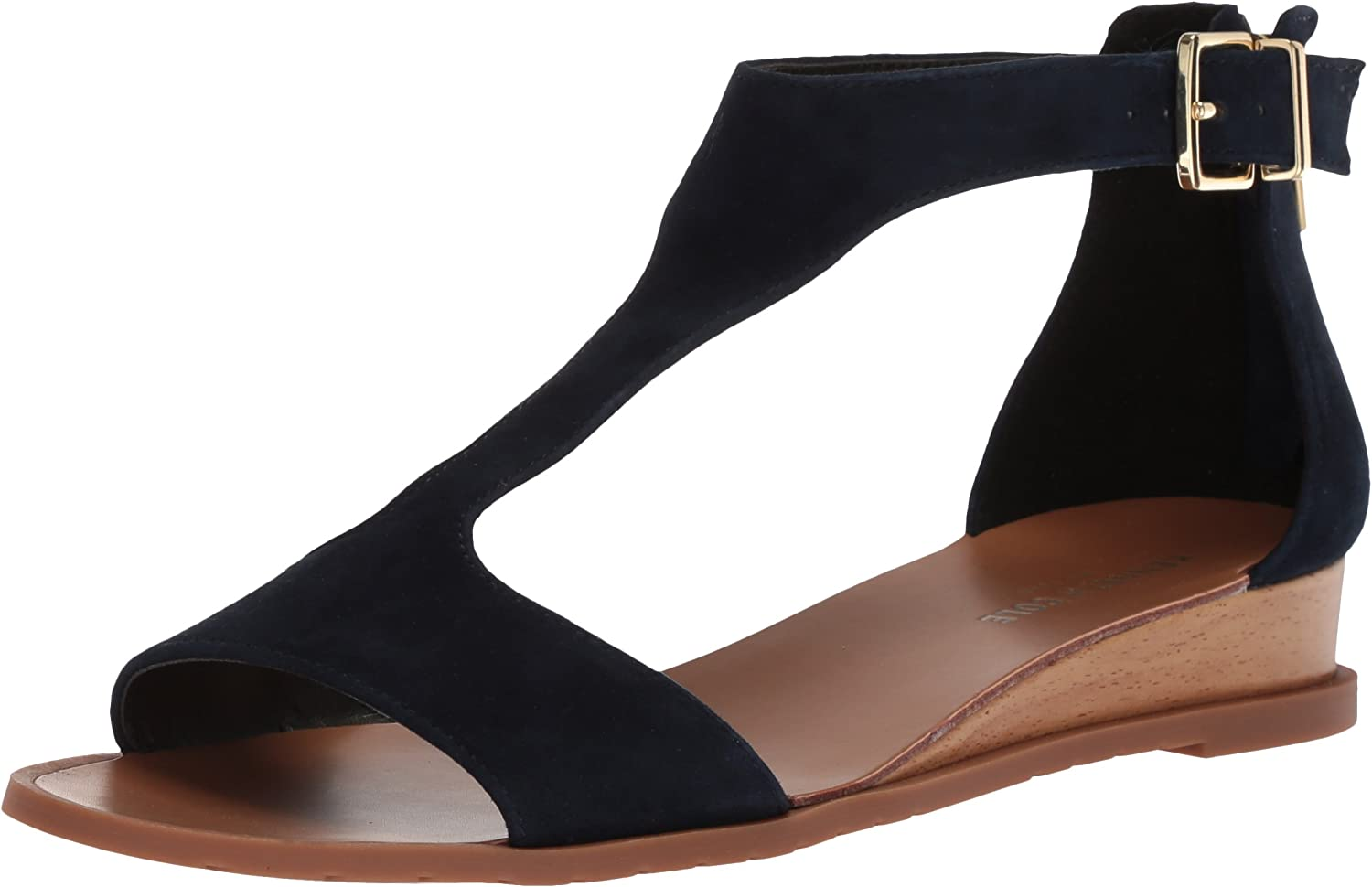 Kenneth Cole New York Womens Judd Low Wedge T-Strap Sandal Wedge Sandal