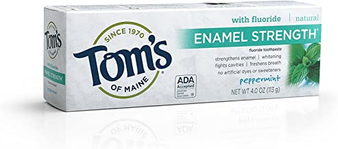 Tom's of Maine Enamel Strength Natural Toothpaste, Peppermint, 4 Ounce, 2 Count