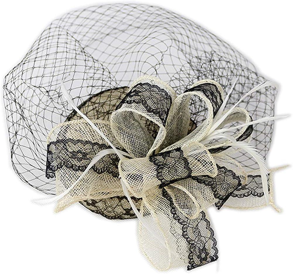 YSJOY Elegant Sinamay Veil Mesh Flower Fascinators Derby Hat Kentucky Hat