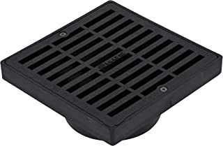 NDS 640 Square Grate with Low-Profile Adapter Fits 3 in. & 4 in. Drain Pipes & Fittings, 6 in, Black Plastic