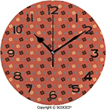 SCOCICI Round Wall Clock St. Patricks Day Inspired Clovers Trefoil Plants Theme 10 inch Morden Wall Clocks Silent Round Decorative Clock
