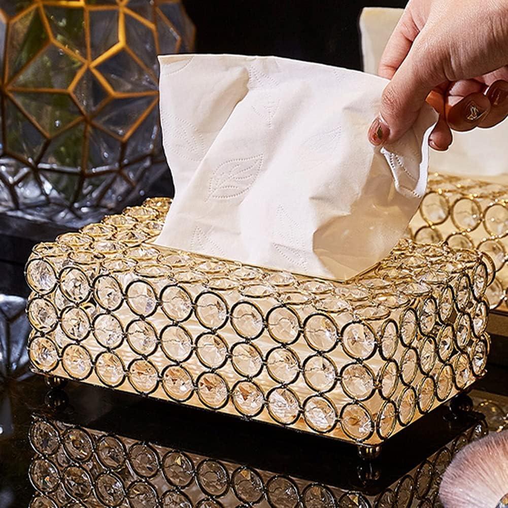 PPuujia Caja de pañuelos para papel de oficina o mesa, bandeja para servilletas, boda, fiesta, decoración del hogar, caja de pañuelos de cristal, estilo creativo de tela de metal (color: oro)