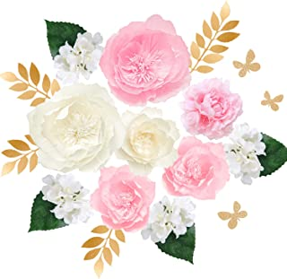 Ling's moment Paper Flower Decorations Set of 9(8''-4'' Assorted), Handcrafted Crepe Peony & Artificial Silk Hydrangea for Wall Nursery Wedding Backdrop Bridal Shower Centerpiece Monogram Sign
