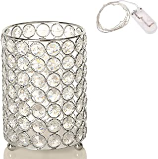 VINCIGANT Silver Decorative Flower Vases Candle Lantern with Warm White String Light for Coffee Table Centerpieces,Gifts for Anniversary/Wedding/Thanksgiving
