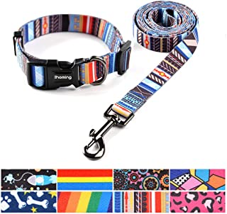 Ihoming Dog Collar and Leash Set Combo Safety Set for Daily Outdoor Walking Running Training Small Medium Large Dogs Cats…