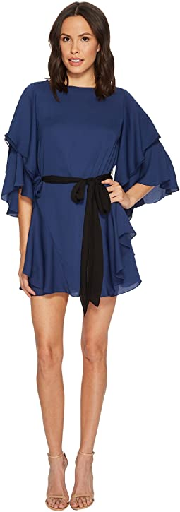 Halston Heritage - Flutter Sleeve Boat Neck Shift Dress w/ Sash