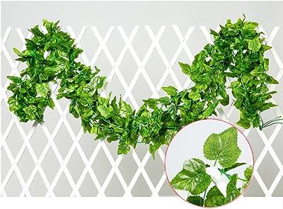 ZHILIAN® Planta Colgante Artificial Hojas Verdes Ivy Garland Decoración De La Pared Pañuelo De Seda Vides De La Boda del Follaje (5pcs X 230cm), Vid Artificial, para La Boda, Fiesta, Hogar: Amazon.es: