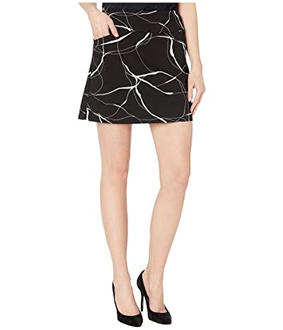 Elliott Lauren Brush Strokes Pull-On Two-Pocket Skort with Side Slits (Black/White) Women