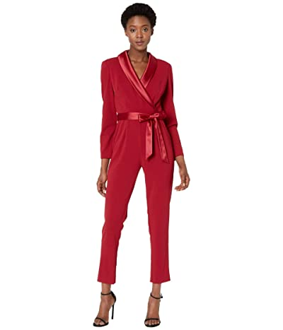 Adrianna Papell Knit Crepe Wrap Top Jumpsuit with Long Sleeves, Slim Pants, and Stretch Charmeuse Collar (Red Samba) Women
