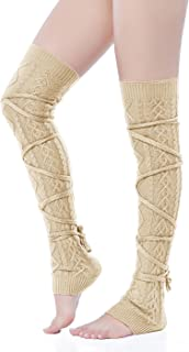 V28 Women Over Knee Lace up Tie Cable Knit Ribbed Crochet Long Boot Leg Warmers