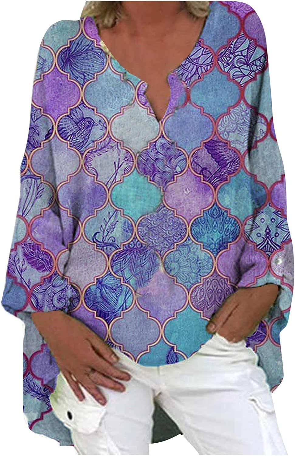 Plus Size Limited time trial price Printed Blouses for Women Neck Oklahoma City Mall Graphic Loose V Floral