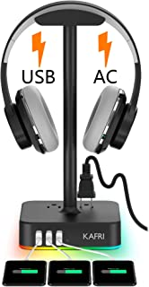 $29 » RGB Headphone Stand with USB Charger KAFRI Desk Gaming Headset Holder Hanger Rack with 3 USB Charging Port and 2 Outlet - Suitable for Gamer Desktop Table Game Earphone Accessories Boyfriend Gift