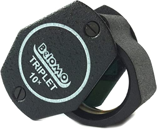 """BelOMO 10x Triplet. Jewelers Loupe Magnifier 21mm (.85""""). Optical Glass with Anti-Reflection Coating for a Bright, Cl..."""