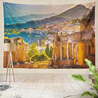 Summor Tapestry Sunset Beautiful Travel Photo Colorful Image Sicily Hanging Tapestries 50 x 60 inch Wall Hanging Decor for Bedroom Livingroom Dorm
