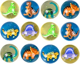 Kicko 1.75 Inch Dinosaur Hi-Bounce Balls - Set of 12 Dino-Filled Multicolor High Bouncing Rubber Spheres - 45mm Reptilian Orbs for Dino-themed Party Favors, Costumes, Decors, and School Projects