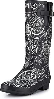 J.Minever Women's Waterproof Rubber Rain Boot Tall
