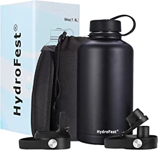 HydroFest Water Bottle, Insulated Water Bottle with Straw lid, 64 oz water bottle with Bottle Holder, Metal Water bottle K...
