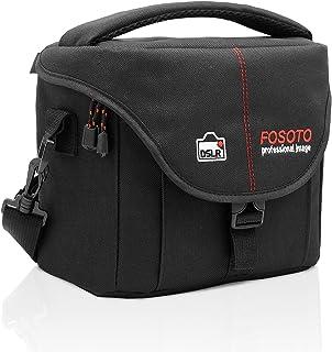FOSOTO 大容量一眼レフカメラケース 仕切り調整可能 多機能 デジタルカメラ用バッグ コンパクト 男女兼用 おしゃれ 防水撥水加工 手提げ 軽量通気 Nikon D3400 D5500 D5300 D5200 D7200 D7100 Canon EOS Kiss X80 EOS Kiss X70 EOS Kiss X8i EOS Kiss X7i 70D 80D 7D 6D 5Dに対応 防水 ブラック