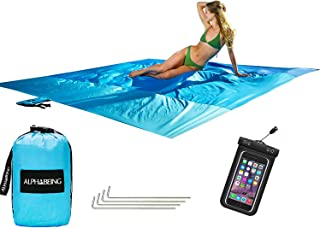 AlphaBeing Sand Free Beach Blanket - 9' X 10' Oversized Sand Proof Mat with 4 Anchor Loops & Metal Stakes - Outdoor Picnic Blanket Ground Cover for Camping, Hiking, Travel and Music Festivals