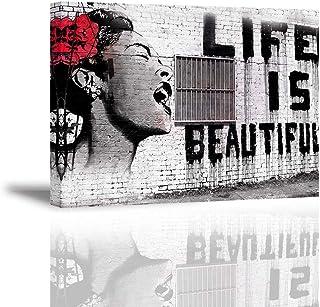 PIY Painting Canvas foto Bansky muurschildering Life is Beautiful schrijdende vrouw waterdichte afbeeldingen en kunstdrukk...