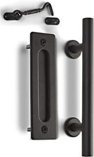 "MJC & Company - 12"" Round Sliding Barn Door Handle Pull Kit with Flush Mount Plate & Cabin Hook Lock - Heavy-Duty Modern Matte Black Hardware Set - Strong Industrial Pull & Privacy Latch"
