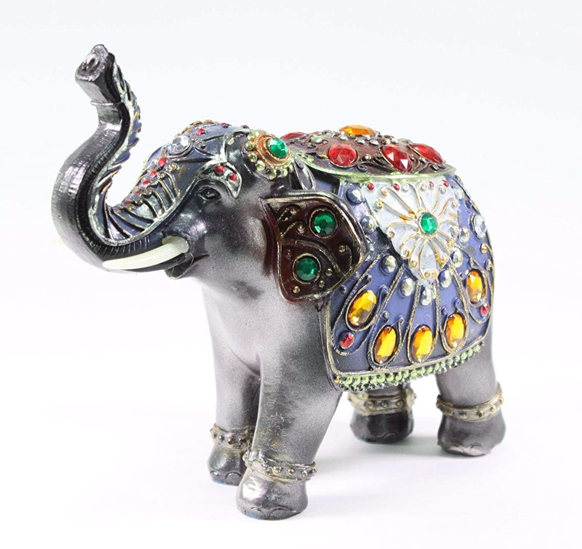 Feng Shui Elephant Trunk Statue Lucky Figurine Gift Home Decor Dark Gray 7