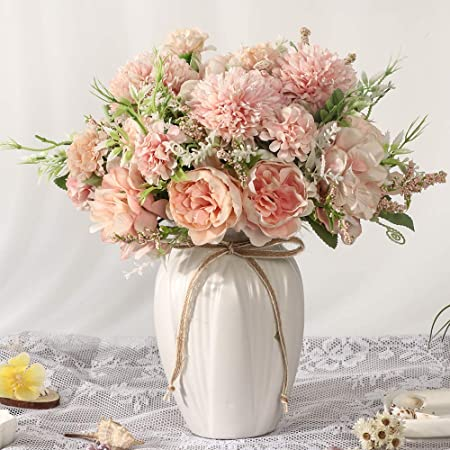 Pink and White Silk Fake Faux Rose Flower Arrangement for Table Centerpiece BEGONDIS Aitificial Bouquets Rose Flowers with Ceramic Vase Home Office Wedding Decoration